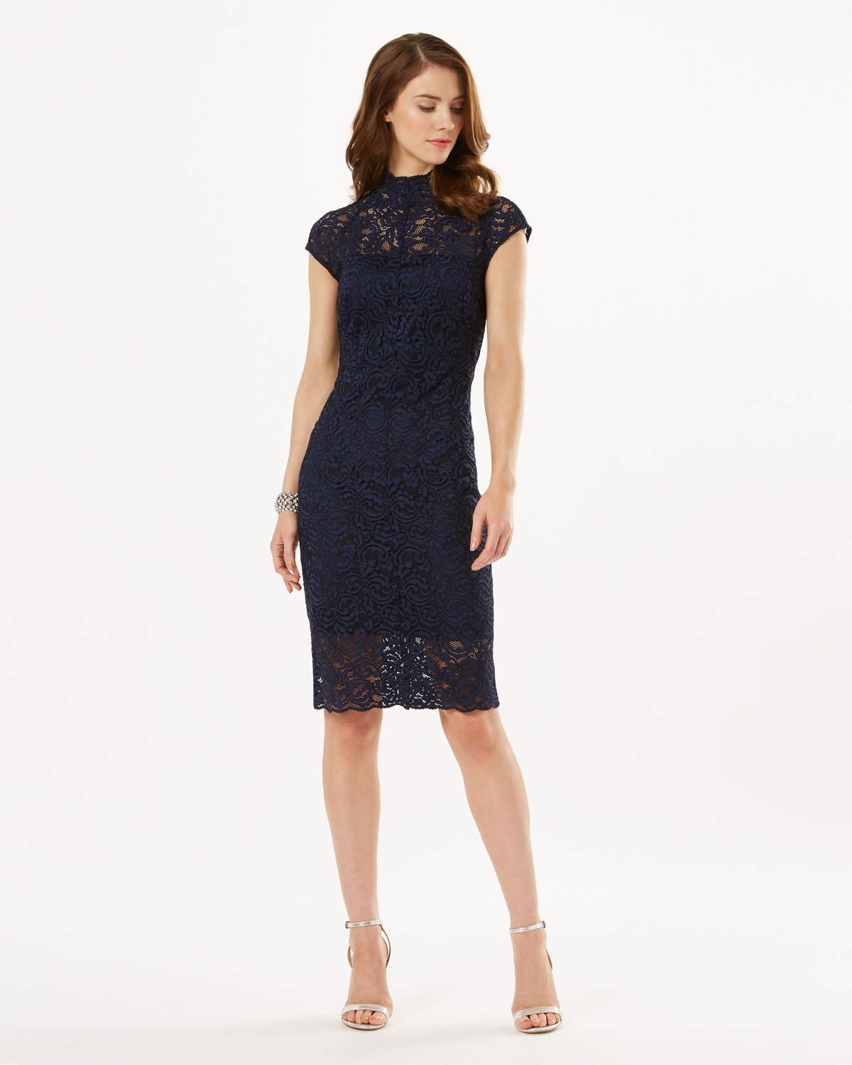 Phase Eight Becky Lace Dress Navy Dresses