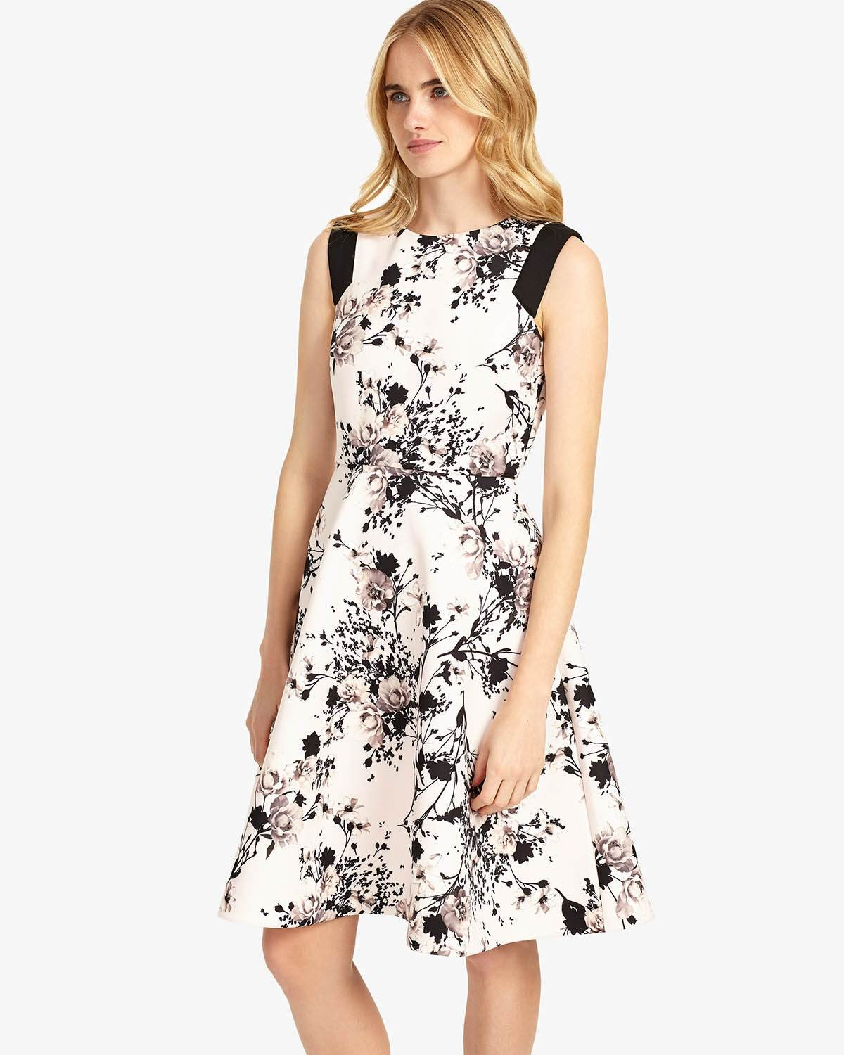 Phase Eight Eugenia Floral Dress Mauve Chalk Dresses