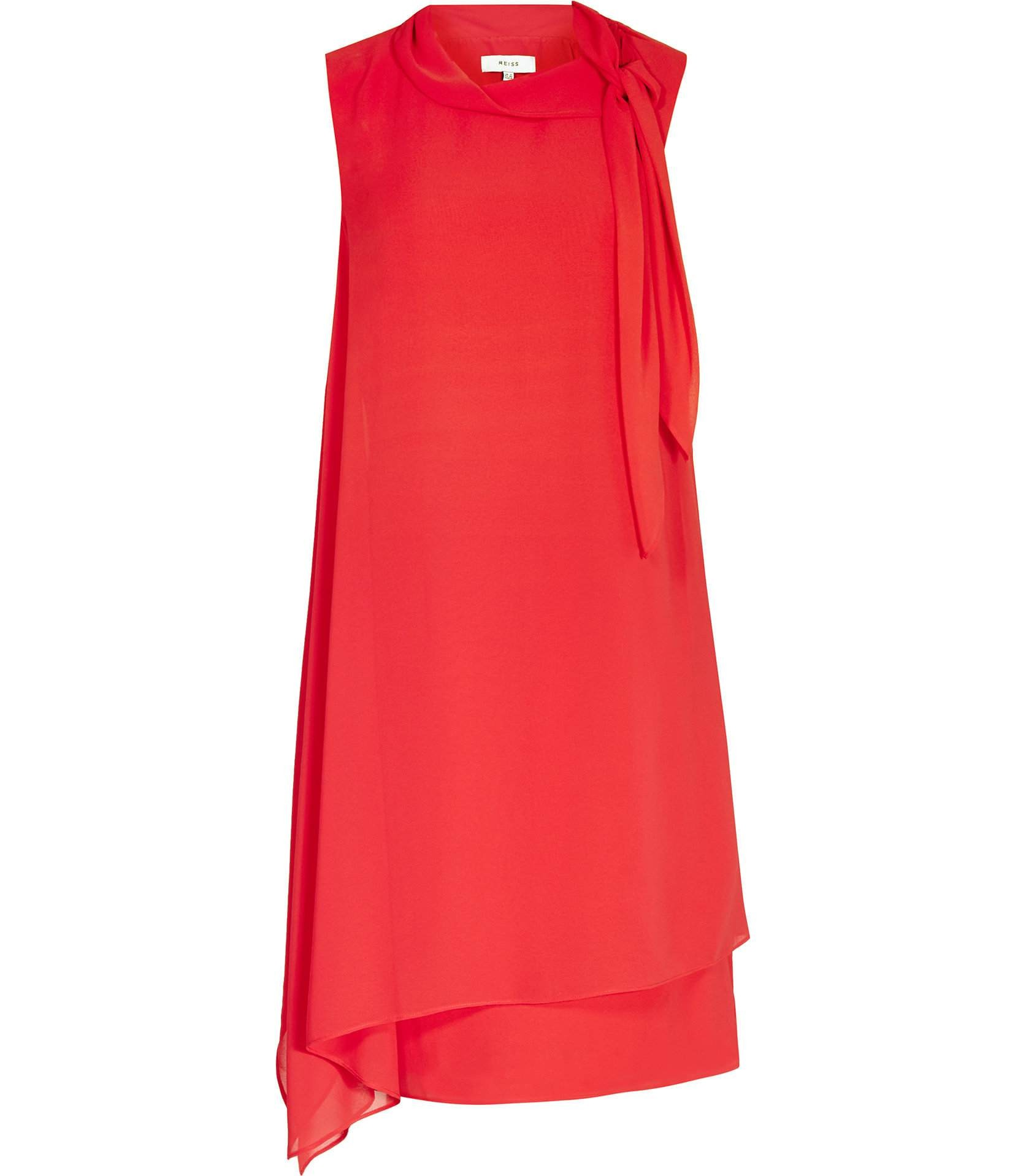 ebc559566 ... Reiss Aries Cherry Red Tie-Neck Dress 29727265,Reiss TIE-NECK DRESSES  ...