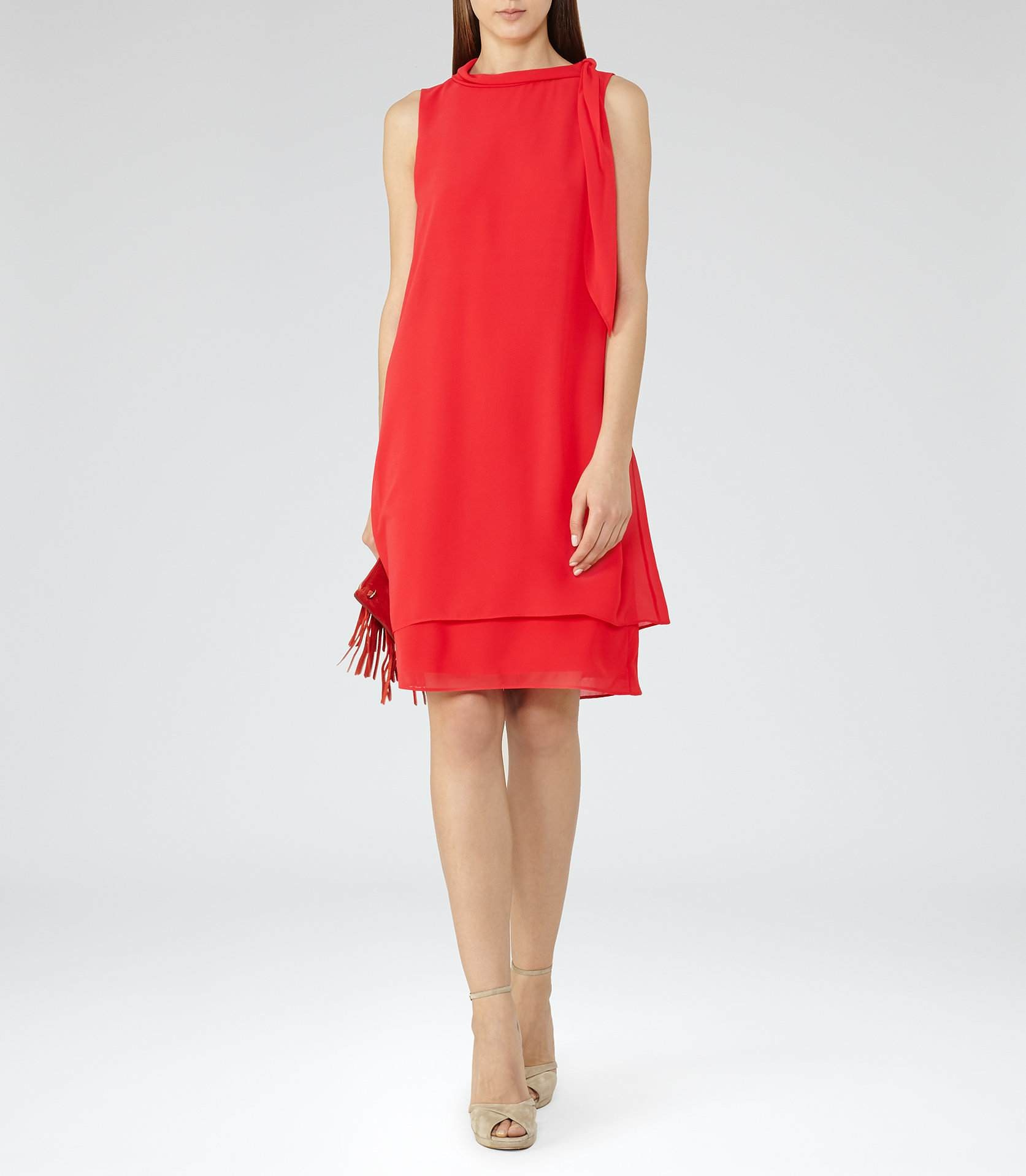 f75acfb8e Reiss Aries Cherry Red Tie-Neck Dress 29727265