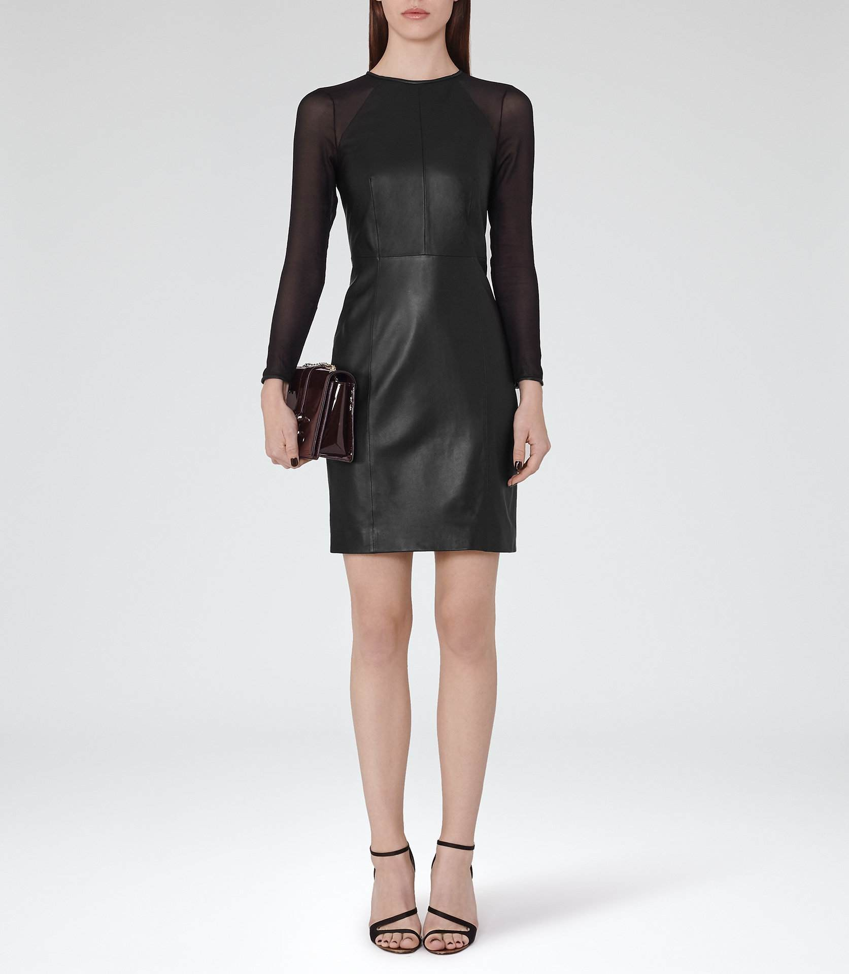 Black Leather Chiffon Dress