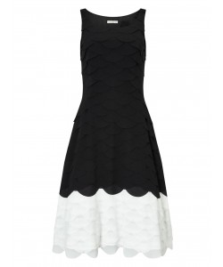 Jacques Vert All Over Scallop Dress Multi Black Dresses