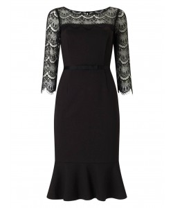 Jacques Vert Black Lace Detail Dress Black Dresses