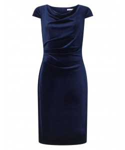 Jacques Vert Cap Sleeve Velvet Dress Navy Dresses
