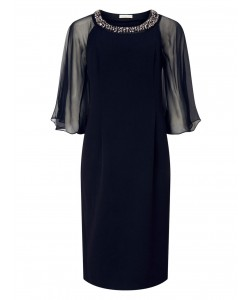 Jacques Vert Chiffon Cape Detail Dress Navy Dresses
