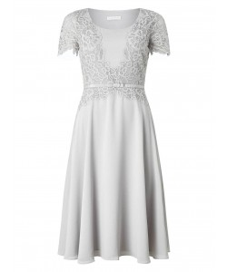 Jacques Vert Delicate Lace Soft Dress Mid Grey Dresses