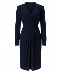 Jacques Vert Drape And Pleat Jersey Dress Navy Dresses