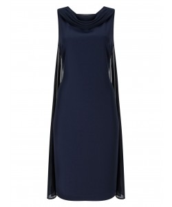Jacques Vert Drape Cape Dress Navy Dresses