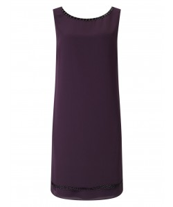 Jacques Vert Embellished Neck Dress Dark Purple Dresses