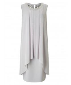 Jacques Vert Emblished Neck Layers Dress Light Grey Dresses