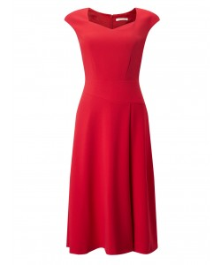 Jacques Vert Flared Crepe Dress Bright Red Dresses