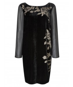 Jacques Vert Floral Burnout Velvet Dress Multi Black Dresses