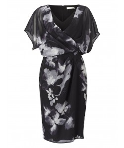 Jacques Vert Floral Wrap Soft Dress Multi Black Dresses