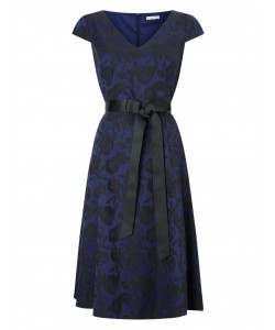 Jacques Vert Jacquard And Dress Dark Blue Dresses