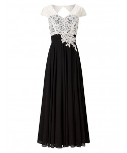 Jacques Vert Lace Bodice And Chiffon Dress Multi Black Dresses