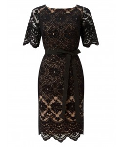 Jacques Vert Lace Contrast Shift Dress Multi Black Dresses