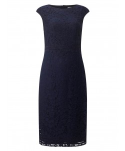 Jacques Vert Lace Fitted Dress Multi Blue Dresses