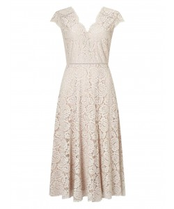 Jacques Vert Lace Godet Dress Mid Neutral Dresses