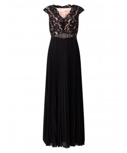 Jacques Vert Lace Top Plisse Maxi Dress Multi Black Dresses