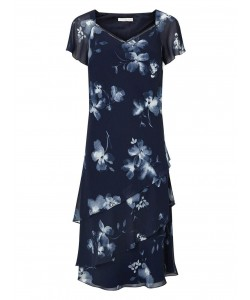 Jacques Vert Layers Soft Print Dress Multi Navy Dresses