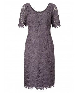 Jacques Vert Leaf Lace Dress Light Grey Dresses