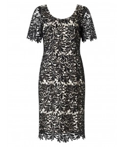 Jacques Vert Leaf Lace Dress Multi Black Dresses