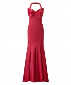 Jacques Vert Lorcan Bow Satin Maxi Dress Dark Red Dresses