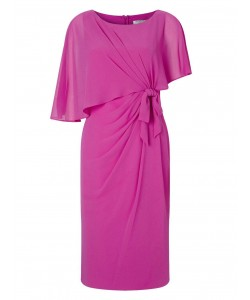 Jacques Vert Lorcan Bow Sided Capelet Dress Mid Pink Dresses