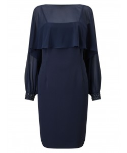 Jacques Vert Lorcan Embellished Cuff Dress Navy Dresses