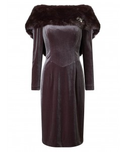 Jacques Vert Lorcan Faux Fur Dress Mid Brown Dresses
