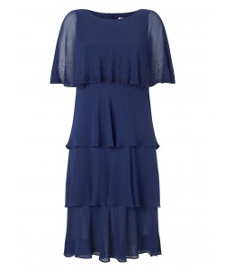 Jacques Vert Lorcan Layers Chiffon Dress Navy Dresses