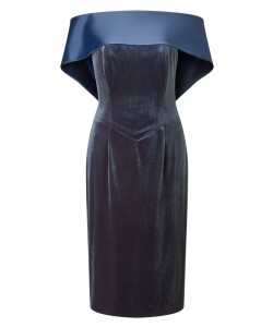 Jacques Vert Lorcan Satin Back Neck Dress Dark Green Dresses