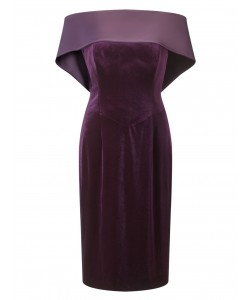 Jacques Vert Lorcan Satin Banded Dress Dark Purple Dresses