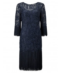 Jacques Vert Lorcan Tassle Lace Dress Dark Green Dresses