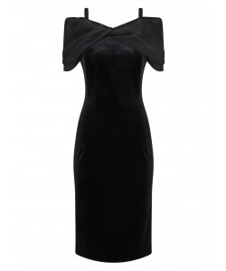 Jacques Vert Off The Shoulder Velvet Dress Black Dresses