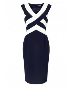Jacques Vert Panel Layers Shift Multi Navy Dresses