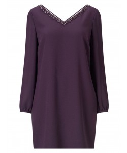 Jacques Vert Petite Embellished Neck Tunic Dark Purple Dresses