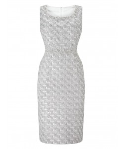 Jacques Vert Petite Jacquard Dress Metallic Silver Dresses