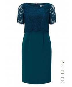 Jacques Vert Petite Lace Layered Dress Dark Blue Dresses