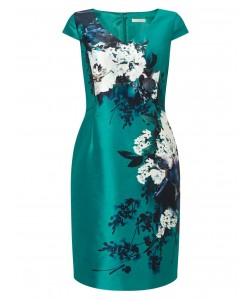 Jacques Vert Petite Printed Shantung Dress Bright Green Dresses