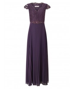 Jacques Vert Pleated Embellished Maxi Dress Dark Purple Dresses