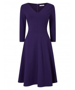 Jacques Vert Ponte Fit And Flare Dress Dark Purple Dresses