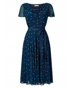 Jacques Vert Soft Prom Spot Dress Multi Navy Dresses