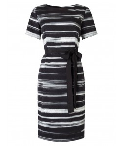 Jacques Vert Textured Stripe Tie Wrap Dress Multi Black Dresses