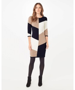 Phase Eight Abriana Block Knitted Dress Navy/Stone Dresses