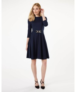 Phase Eight Belted Ponte Swing Dress Navy Dresses
