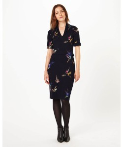 Phase Eight Bird Print Dress Navy Dresses