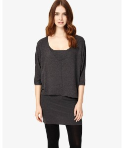 Phase Eight Carmen Double Layer Knitted Dress Charcoal Marl Dresses