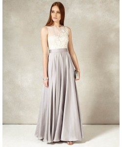 Phase Eight Clarabella Full Length Dress Silver/Cream Dresses