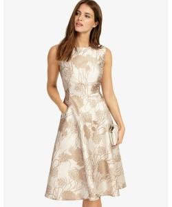 Phase Eight Danica Jacquard Dress Cream Dresses